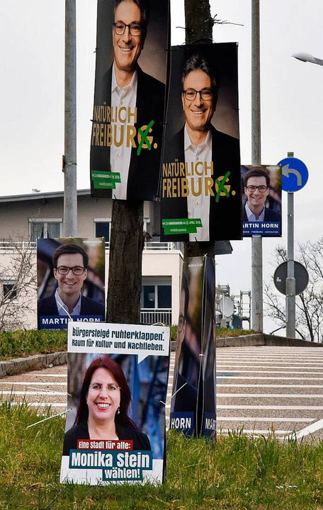 Die Budgets der Kandidierenden untersc...sich im Freiburger OB-Wahlkampf stark.  | Foto: Michael Bamberger