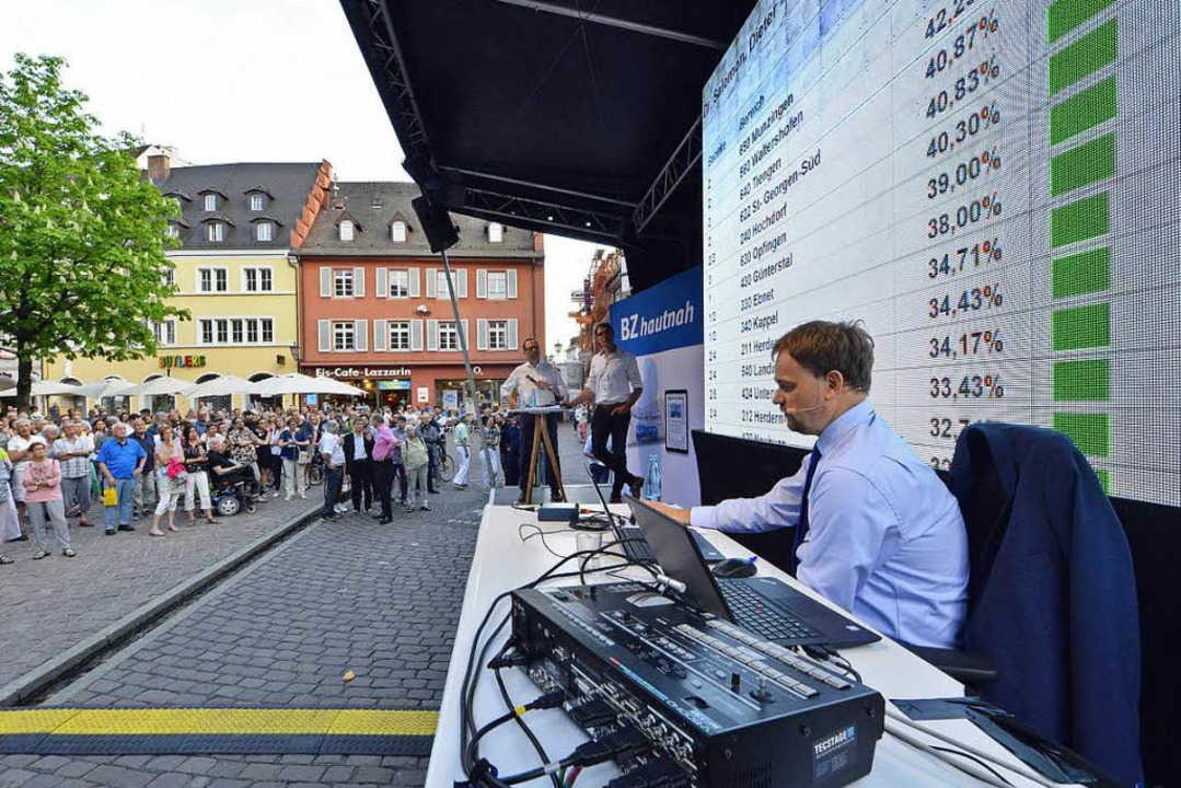Stadtstatistiker Andreas Kern kommenti...lergebnisse live auf dem Rathausplatz.  | Foto: Michael Bamberger