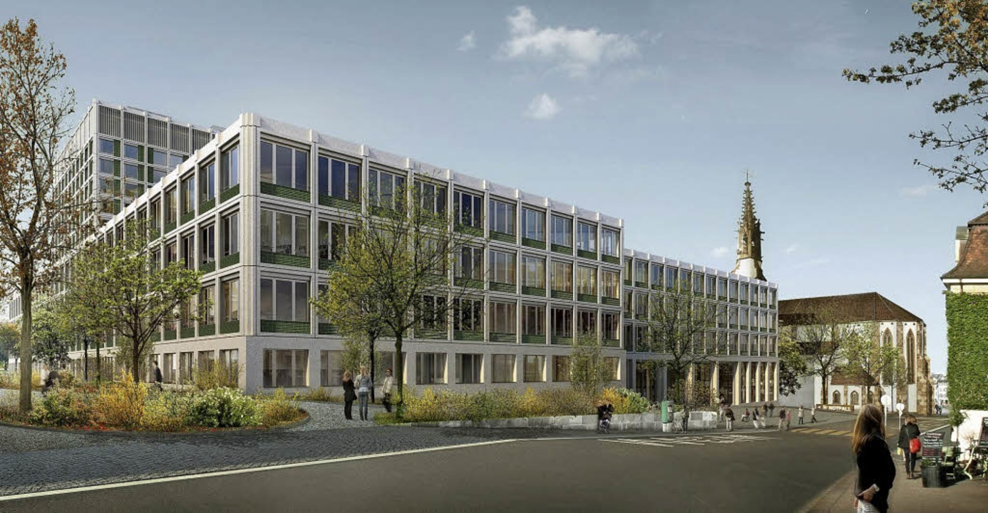 Der überarbeitete Entwurf des neuen Kl...mit der Predigerkirche im Hintergrund   | Foto: Visualisierung: Unispital