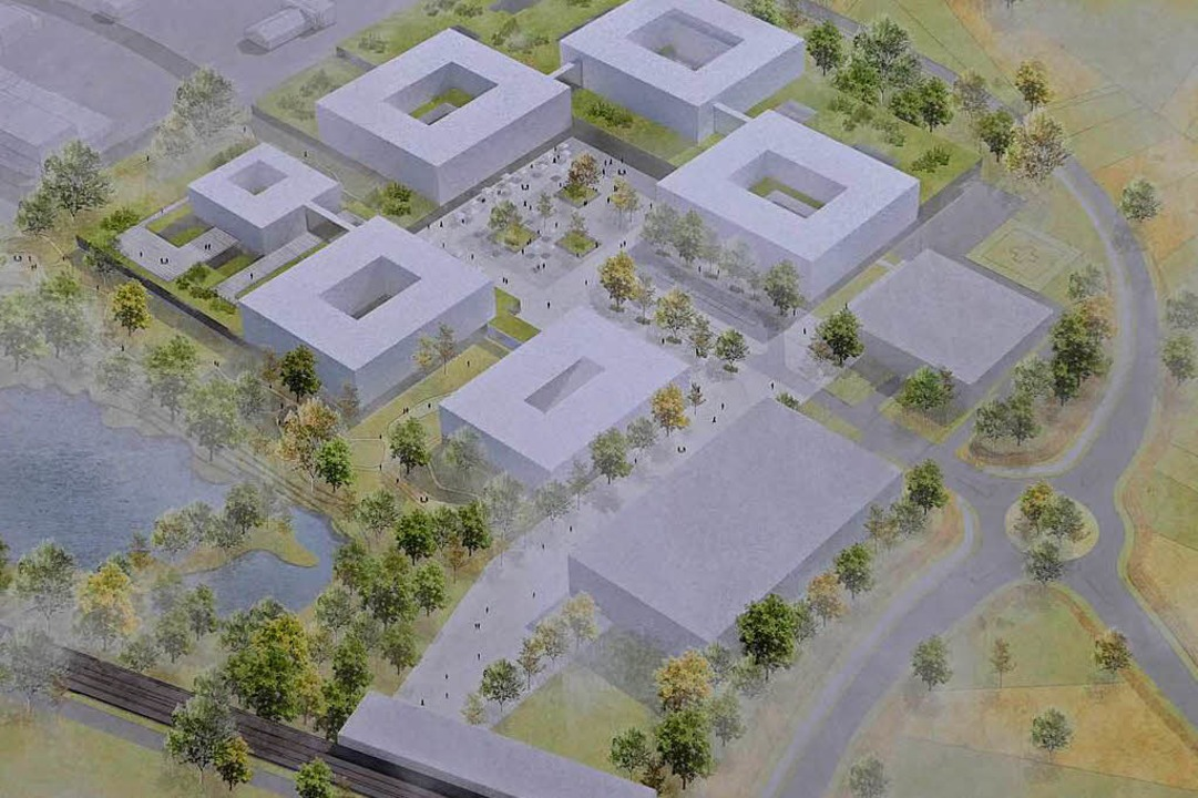 Der Siegerentwurf mit zwei Parkhäusern... grünen Sockel ragenden Bettenhäusern   | Foto: Willi Adam