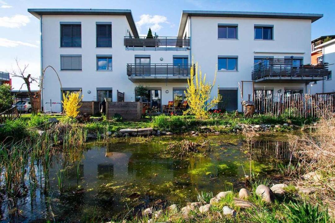 Ein Teich sorgt im Quartier Ramie für Lebensqualität.  | Foto: Patrik Müller