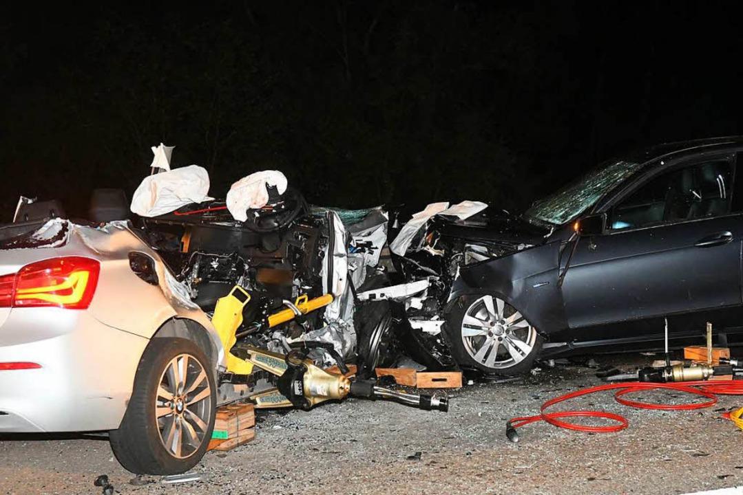 Die Unfallstelle bei Altenheim, wo ein BMW und ein Mercedes kollidiert sind.  | Foto: Wolfgang Künstle