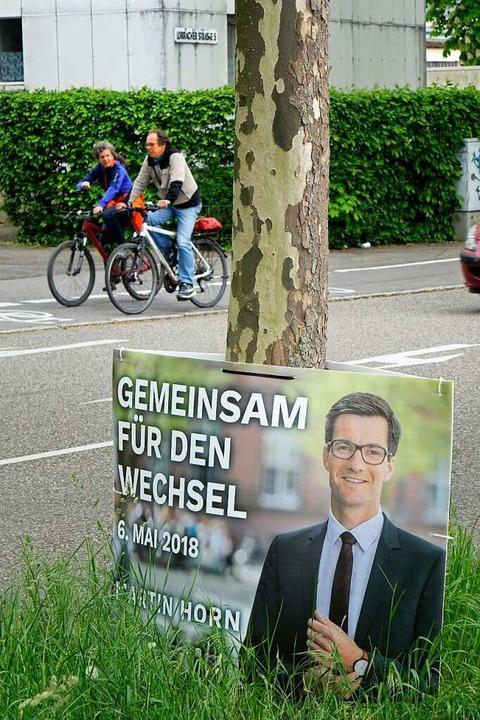 Ein Wahlplakat von Martin Horn  | Foto: Wolfgang Grabherr