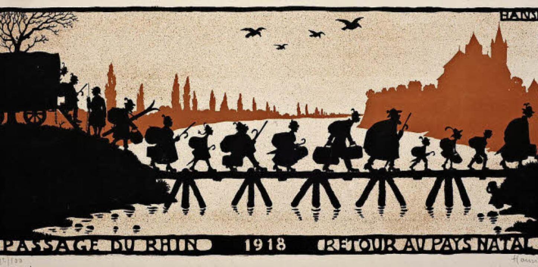 Die Angliederung des Elsass an Frankre...nalabzug einer Lithographie von 1919.   | Foto: Dreiländermuseum