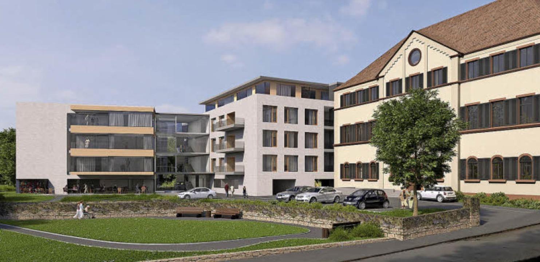 So könnte der Neubau (links) aussehen.     Foto: Stocker-Dewes