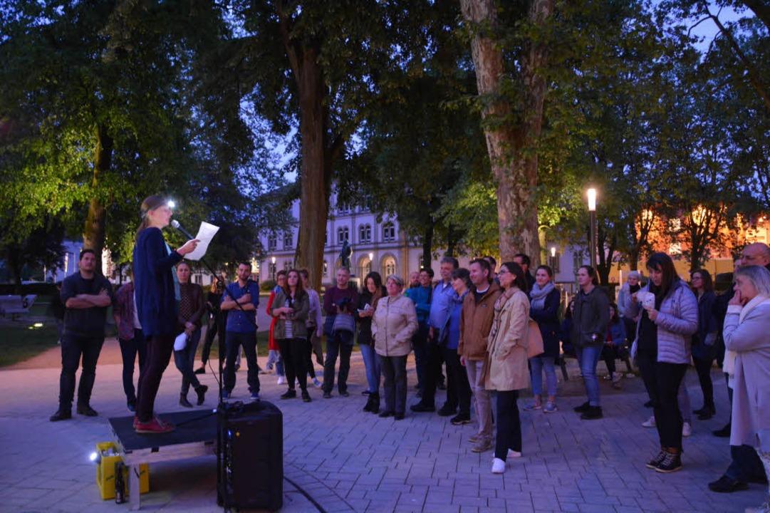 Zur Kulturnacht gehörte eine Speakers' Corner in Lörrachs Hebelpark.  | Foto: Barbara Ruda
