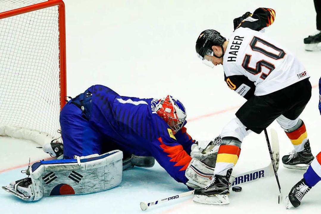 Die deutsche Eishockey-Nationalmannschaft siegt gegen Südkorea.  | Foto: dpa