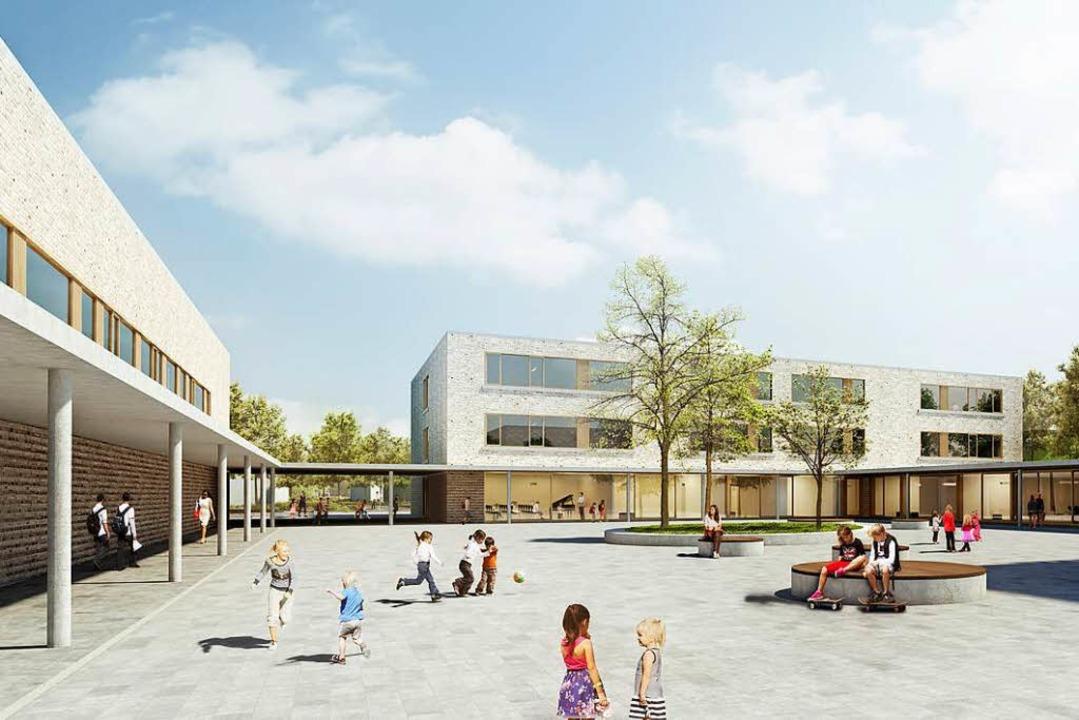 So soll er aussehen, der neue Schulcam...undschule mit dem überdachten Eingang.    Foto: mbpk Architekten und Stadtplaner GmbH, Freiburg