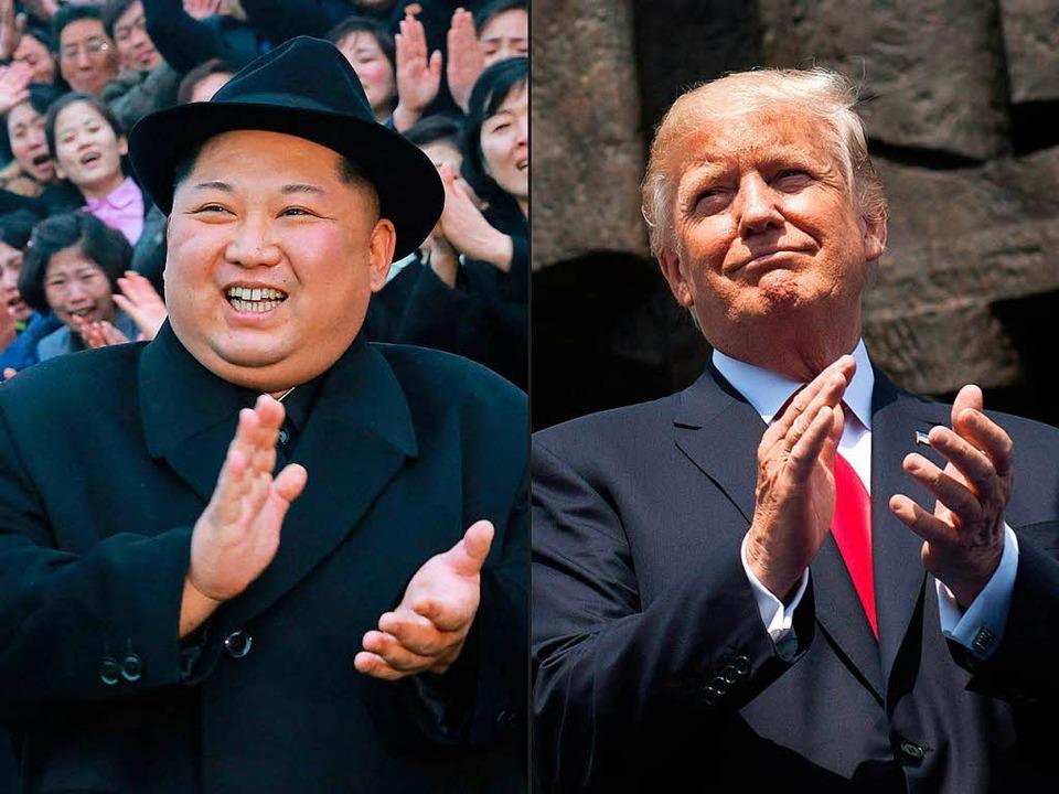 Nordkoreas Diktator Kim Jong-un und US-Präsident Donald Trump.  | Foto: AFP