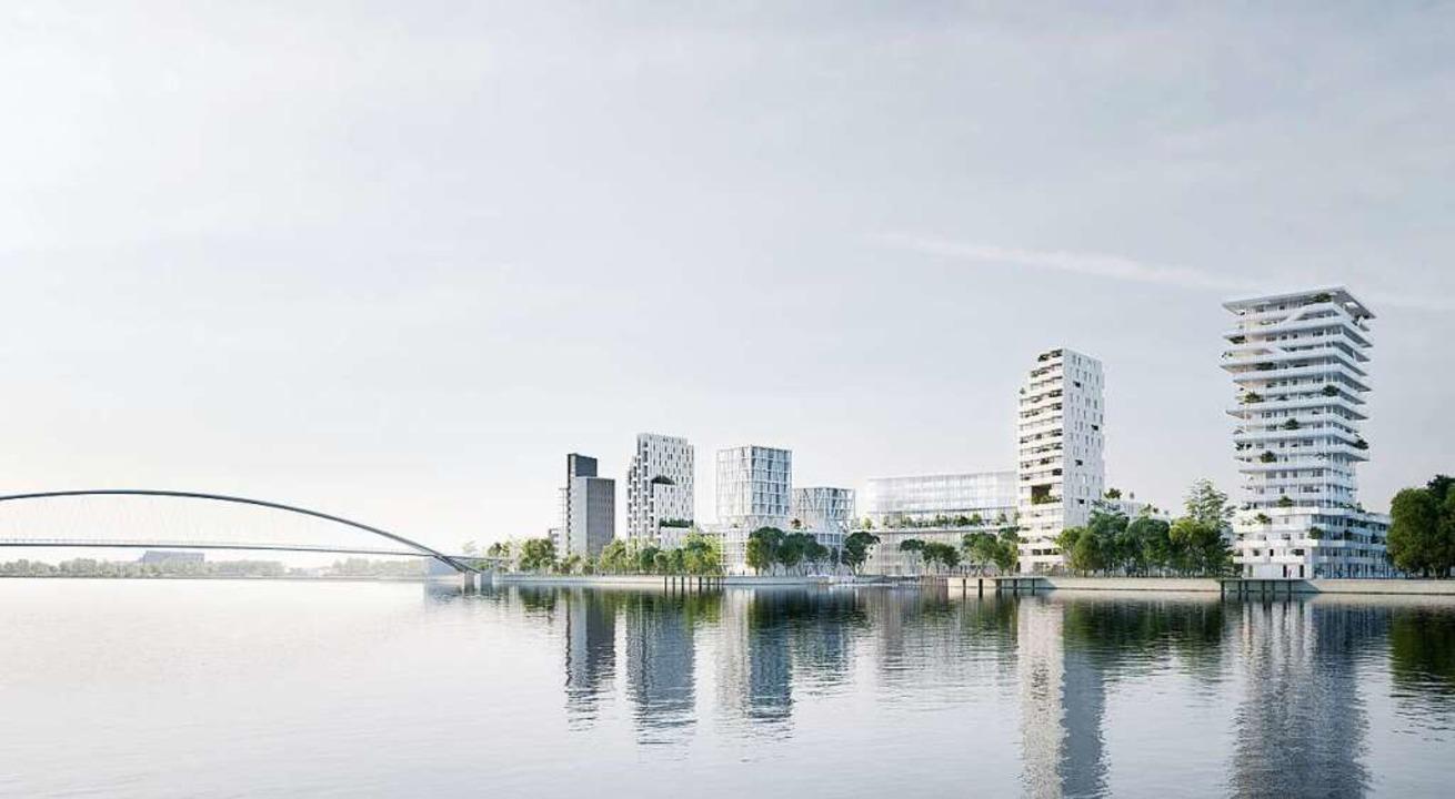 Die neue Hüninger Skyline am Rhein    Foto: zVg Constructa