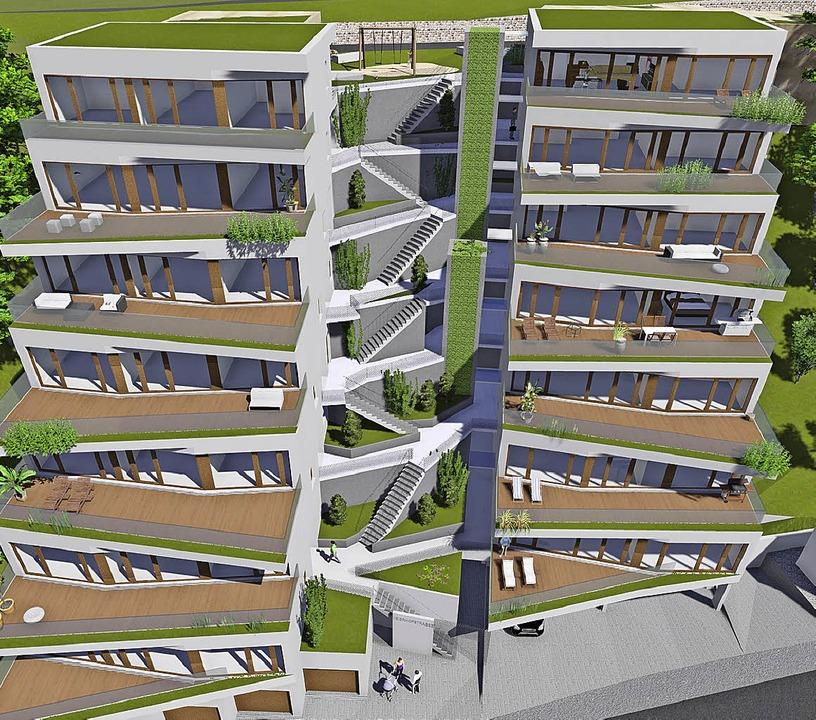 Der Neubau der Terrassenhäuser  im Mei...e zwischen 86 und 120 Quadratmetern.    | Foto: Grafiken: Architekturbüro Herzog