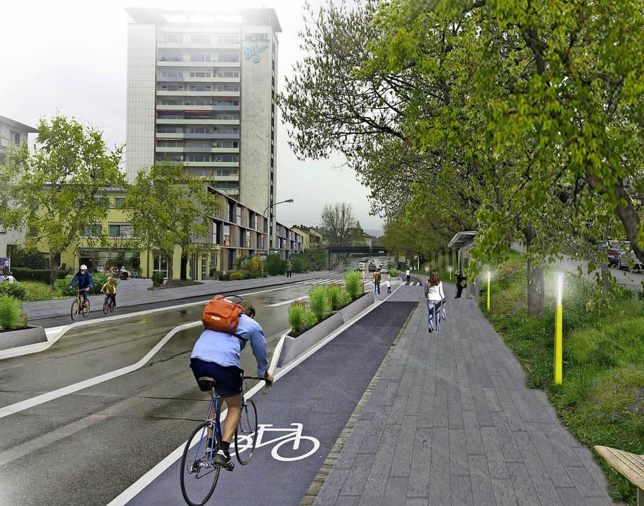 Eine Skizze verdeutlicht  die Chancen einer umgestalteten Basler Straße.   | Foto: Gehl Architects