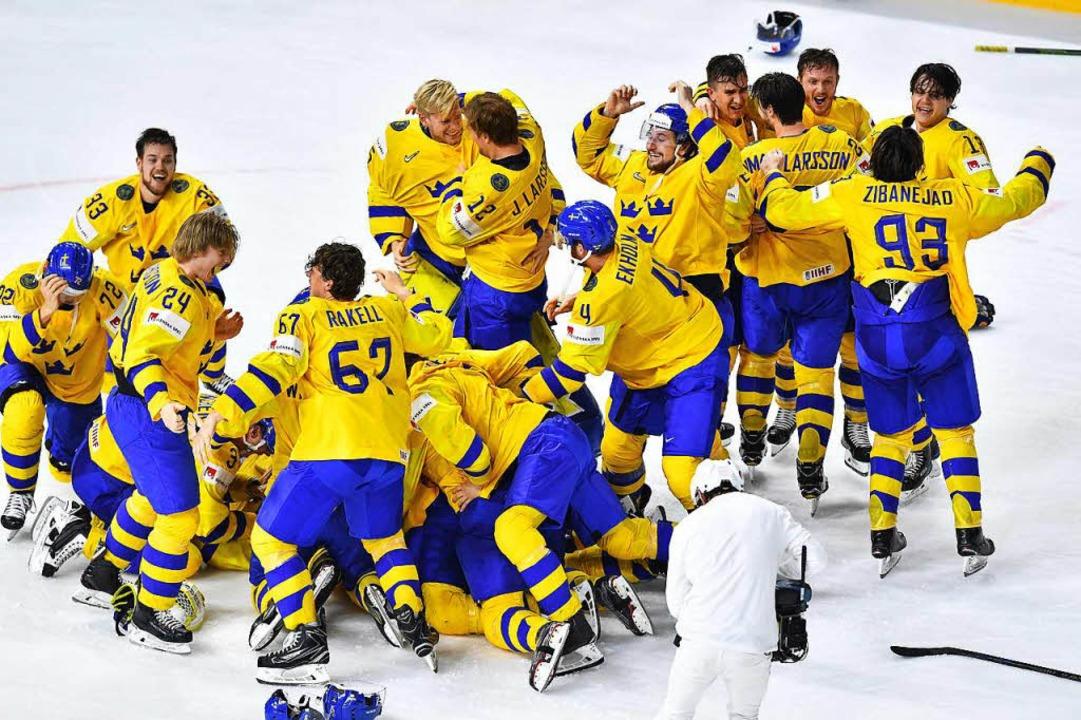 Schweden wurde zum 11. Mal Eishockey-Weltmeister.    Foto: AFP