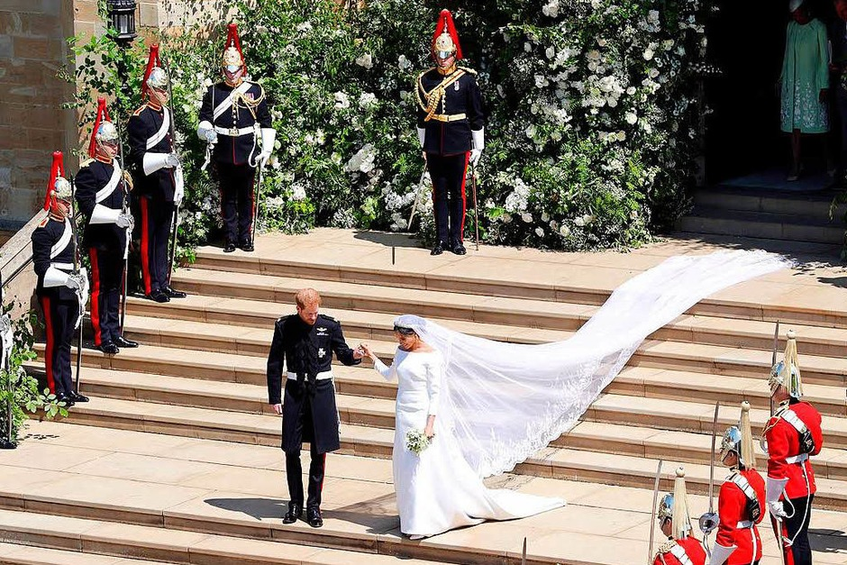 Frisch vermählt: US-Schauspielerin Meghan Markle und Prinz Harry haben sich das Ja-Wort gegeben. (Foto: AFP)