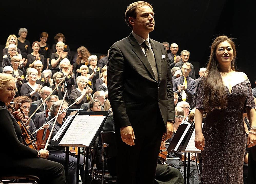 Gefeierte Solisten beim Konzert der We... Kowollik und  Hanno Müller-Brachmann     Foto: R. Frey