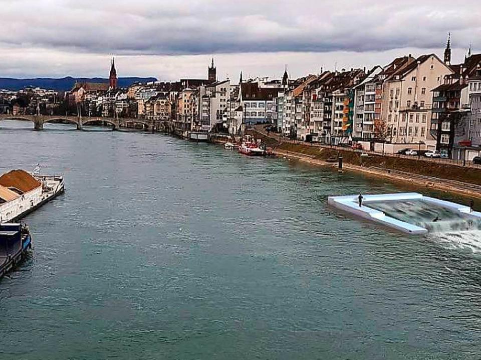 So hätte die Surf-Anlage auf dem Rhein...). Im Hintergrund die Mittlere Brücke.  | Foto: Christian Müller