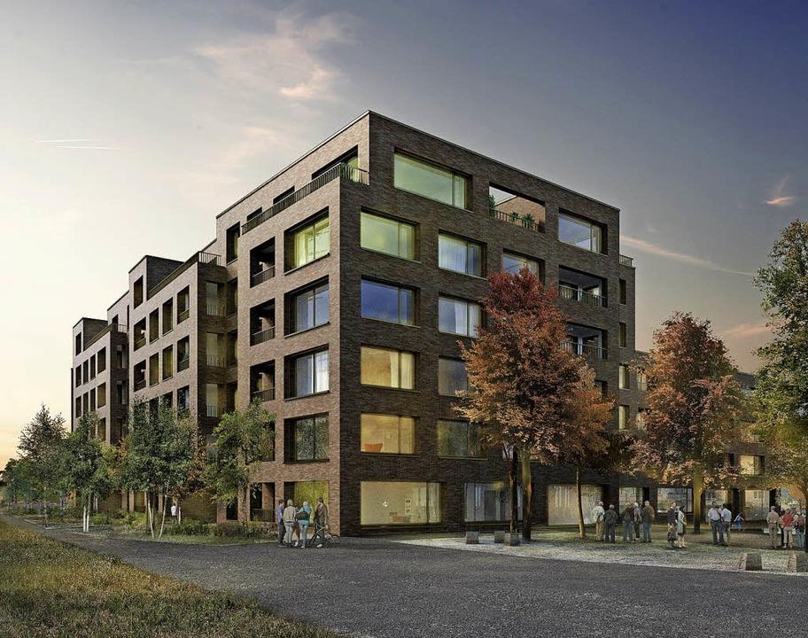 Neben dem Bahnhof soll ein modernes Wohn-und Dienstleistungszentrum entstehen.    Foto: Visualisierung: Bildbox Densa Visualisierung