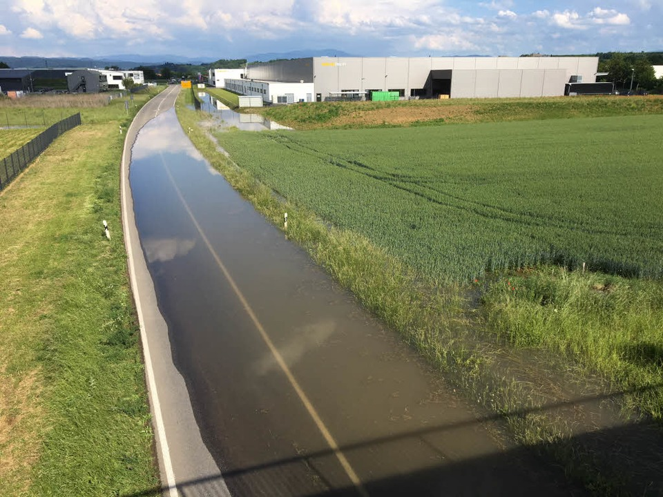 Die überflutete L113 am Donnerstagnachmittag  | Foto: Feuerwehr Endingen