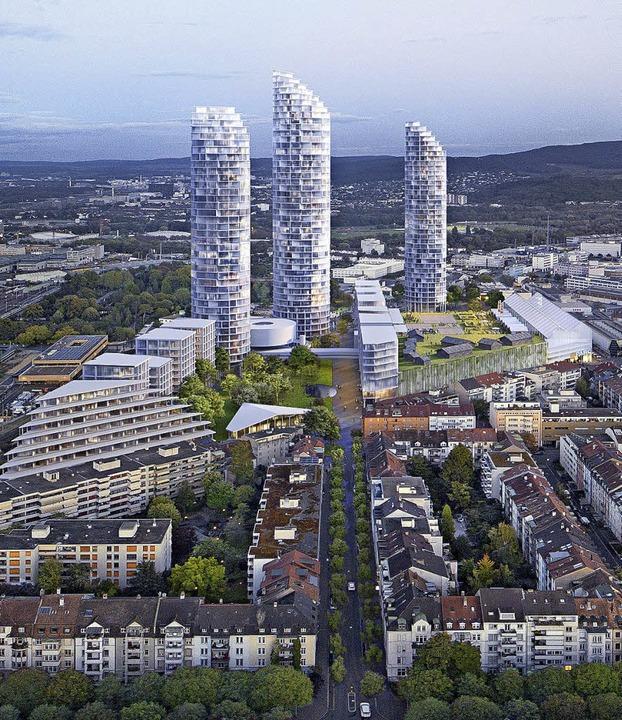 Wohntürme am Basler Dreispitz     Foto: Visualisierung: Herzog & de Meuron