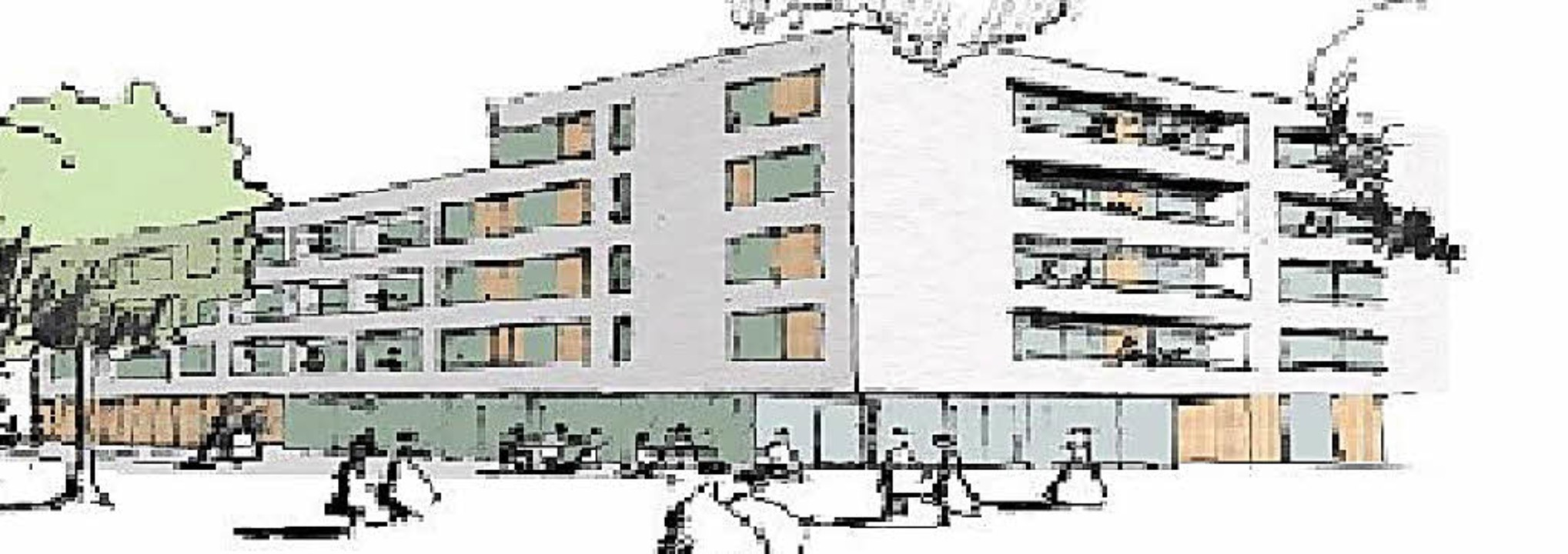 "Ansicht des Lörracher Quartiers ""Weberei Conrad""     Foto: Skizze: Stadtbau Lörrach"