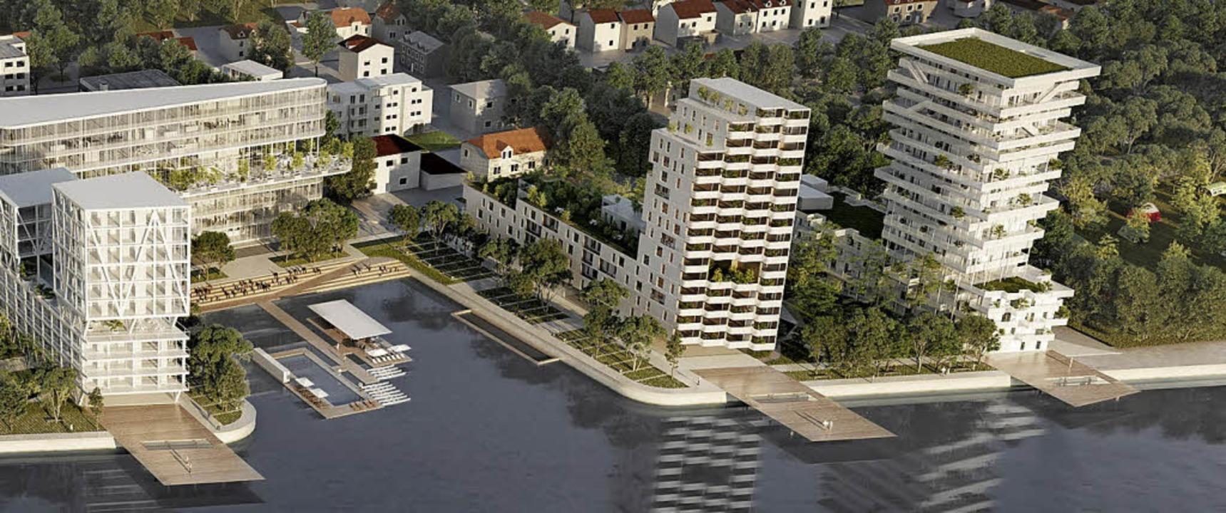 Die in Hüningen geplante Rheinufer-Bebauung      Foto: Visualisierung: Constructa