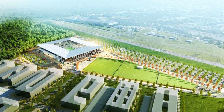 Geplant wurde das SC-Stadion links der Start- und Landebahn des Flugplatzes.  | Foto: HPP Architekten/WillMore