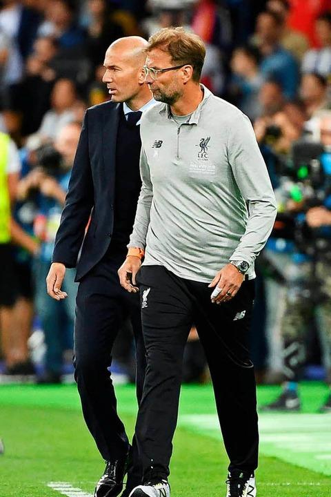 Die Trainer: Zinedine Zidane und Jürgen Klopp    Foto: AFP