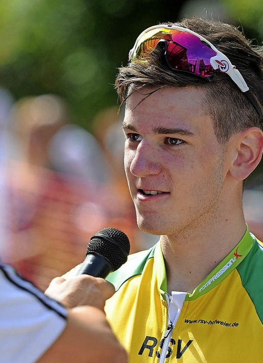 Felix Bauer beim Siegerinterview  | Foto: Bettina Schaller