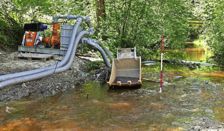 Die Pumpe wird dem Wasser nicht mehr Herr. Eine zweite soll helfen.  | Foto: Martin Wunderle