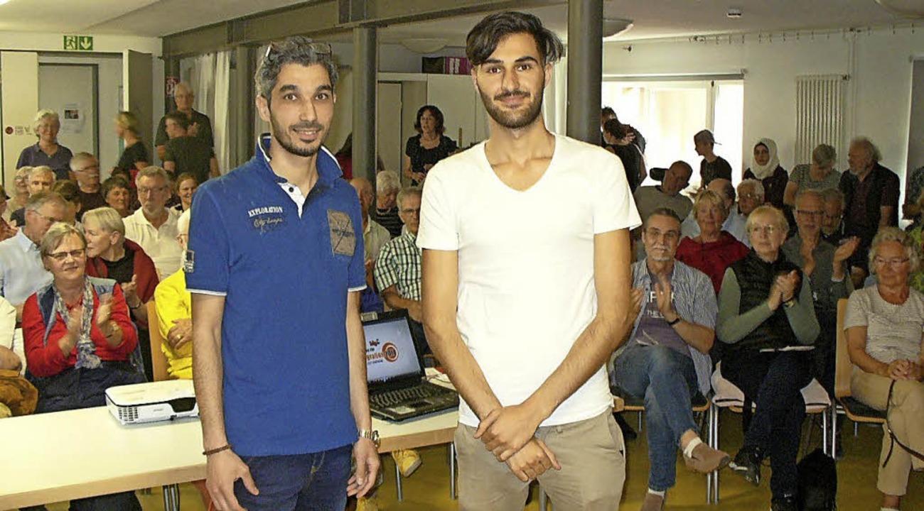 Louay Hindi (links) und Khaled Alsaleh  nach ihrem Vortrag im Roten Haus.    Foto: Jutta Beckmann