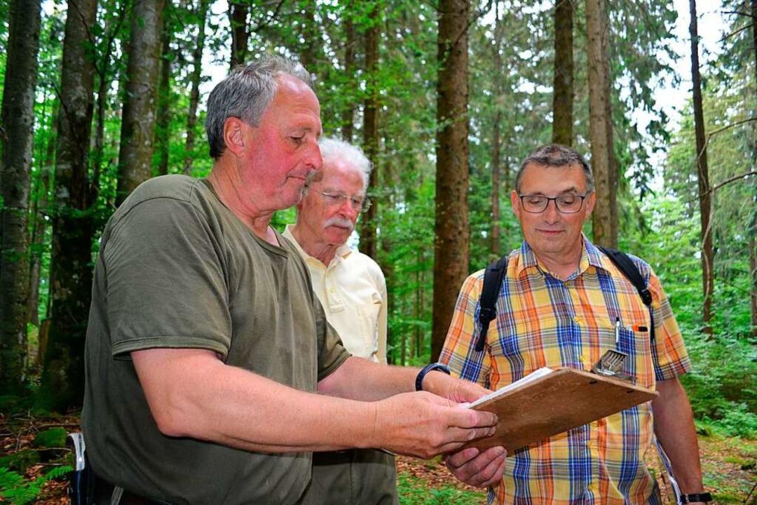 Revierleiter Joachim Trautwein und Harald Senn erfassen die Naturdenkmäler.  | Foto: Paul Berger