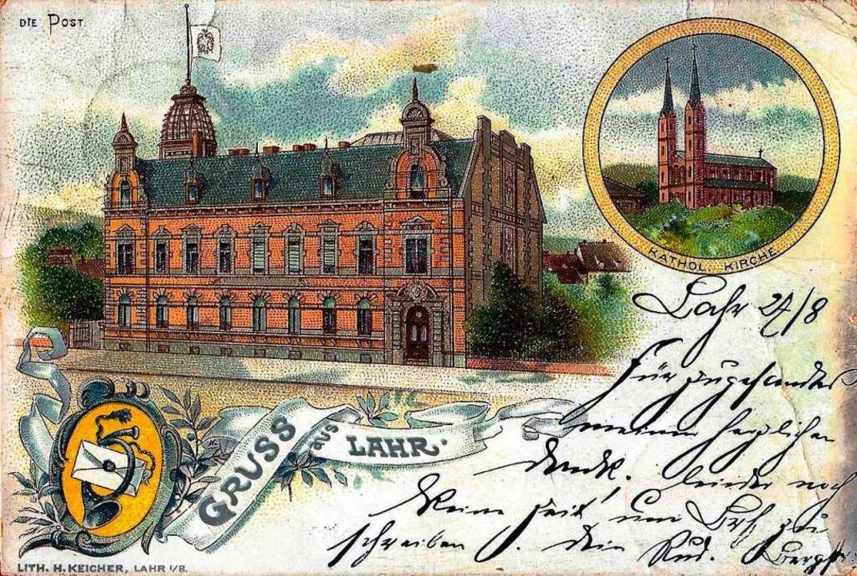 Das Postamt auf einer kolorierten Ansichtskarte aus dem Jahr 1899    Foto: Manfred Eble