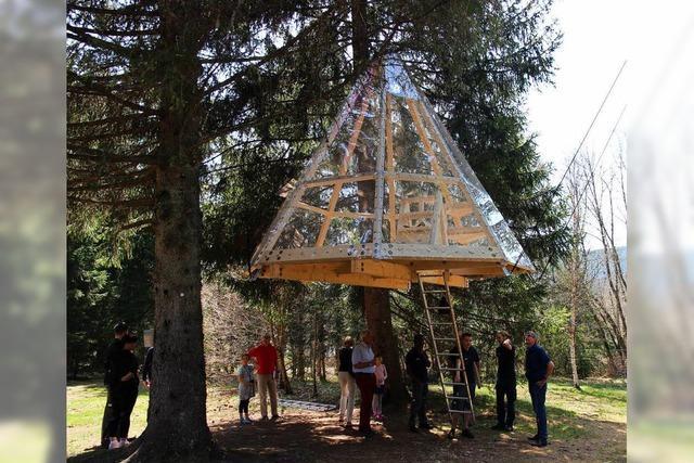 Im Naturcamp in Schluchsee baumelt neuerdings ein Baumhaus