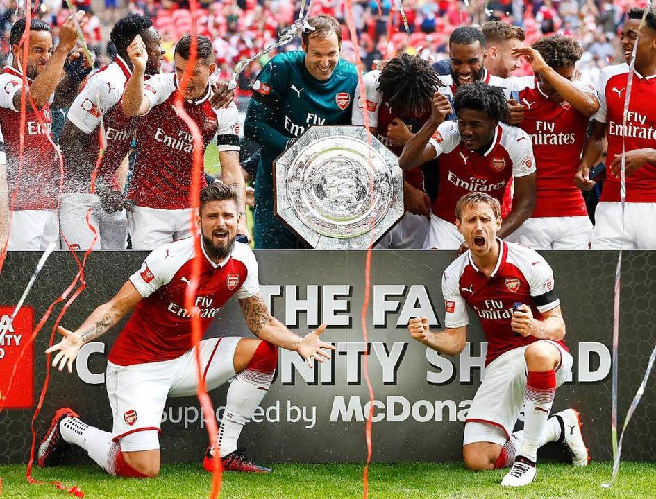 Der FC Arsenal nach seinem Sieg über den FC Chelsea  | Foto: dpa