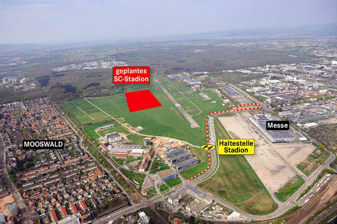 Die Messebahn wird nach neuer Planung westlich der  Madisonallee verlaufen.  | Foto: Stadt Freiburg