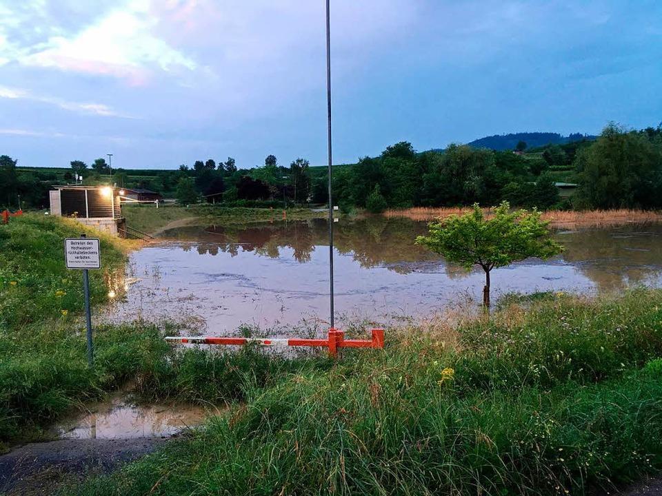 Das Rückhaltenbecken Breitenweg in der... gefüllt mit 208000 Kubikmetern Wasser  | Foto: Gemeinde Eichstetten