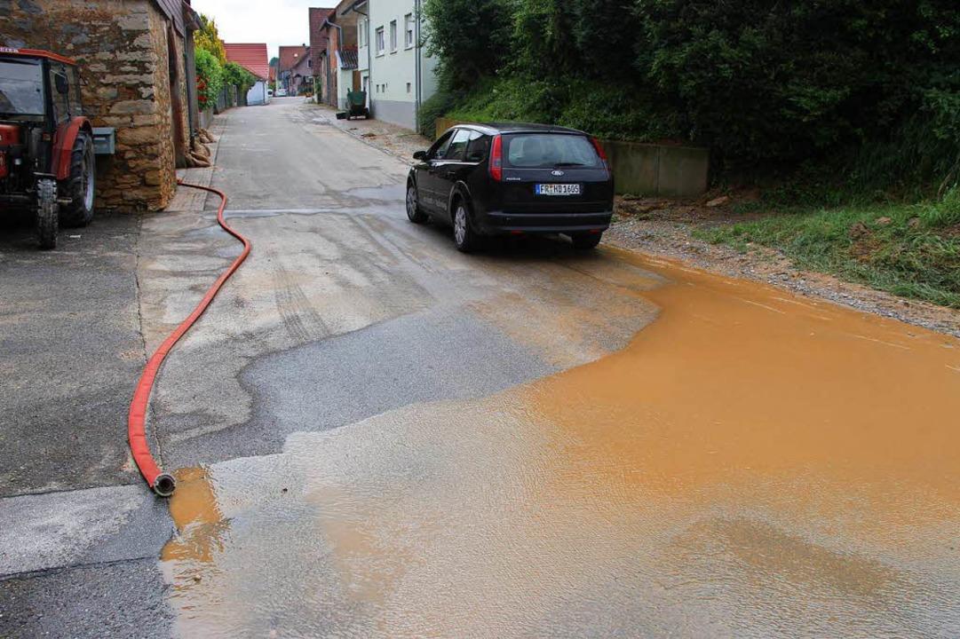 Aus Höfen und Kellern in Eichstetten wurde verschlammtes Wasser abgepumpt.  | Foto: Horst David