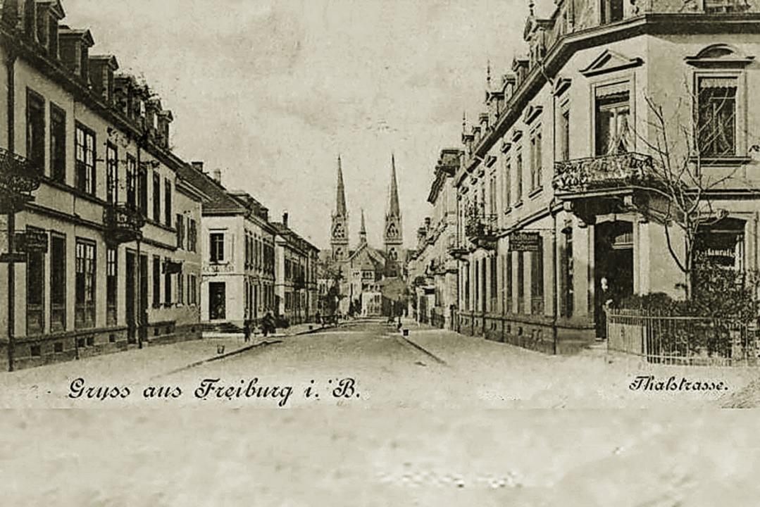 Auf der  historischen Postkarte ist da...Johanneskirche am Ende der Talstraße.   | Foto: Archiv Fritz Steger