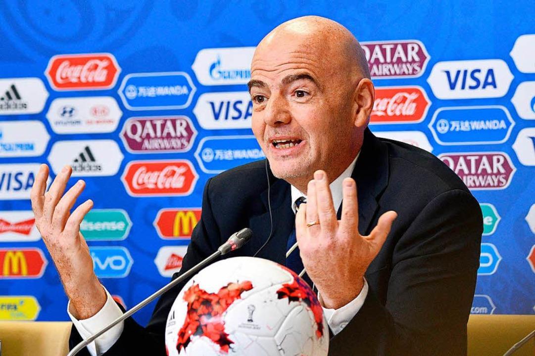 FIFA-Chef Gianni Infantino hofft auf eine amerikanische WM 2026.   | Foto: AFP