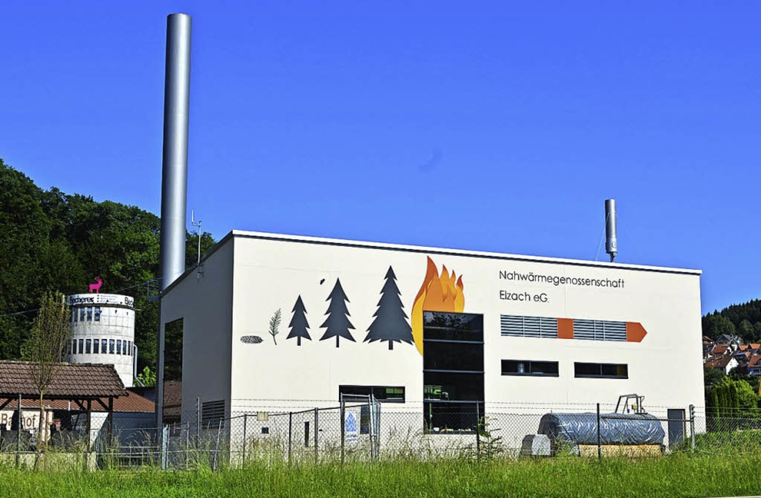 Die Heizzentrale der Nahwärmegenossens...ellt und mit Bemalung schön gestaltet.  | Foto: Nikolaus Bayer
