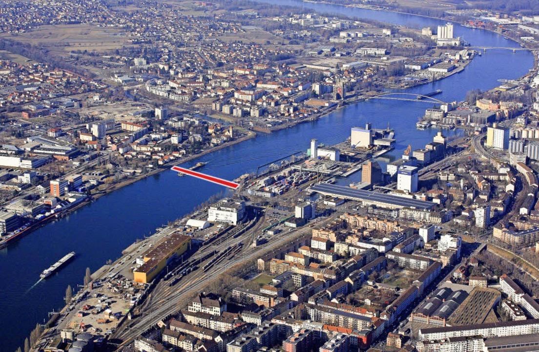 Das 3Land-Gebiet um den Rheinhafen Kle...ufern des Klybeckareals (links unten)   | Foto: Erich Meyer