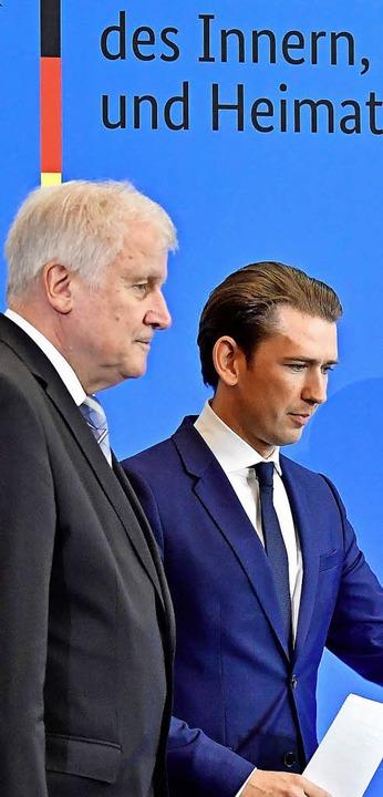 Innenminister Horst Seehofer und Kanzler Sebastian Kurz      Foto: AFP