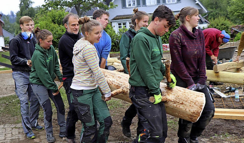 Kräftig anpacken heißt es für die engagierten FÖJler.  | Foto: Dieter Maurer