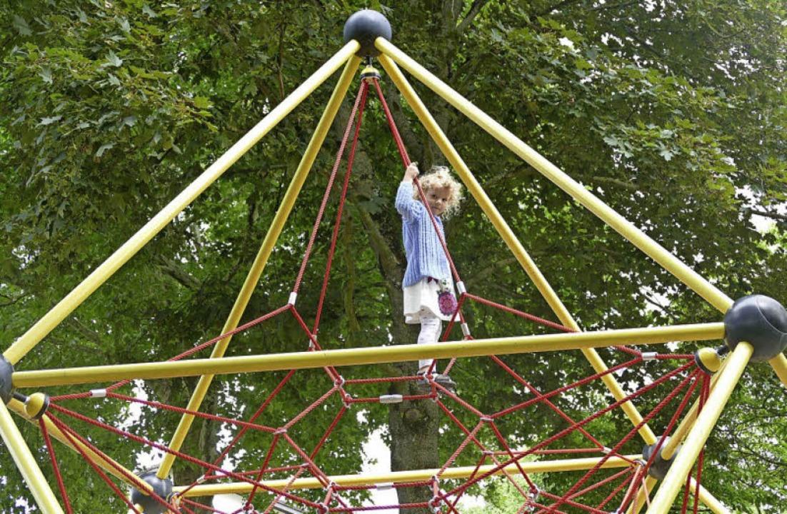 Das Spinnennetz ist der Hit beim Spielplatz Kastelbergstraße.  | Foto: F. Riepl