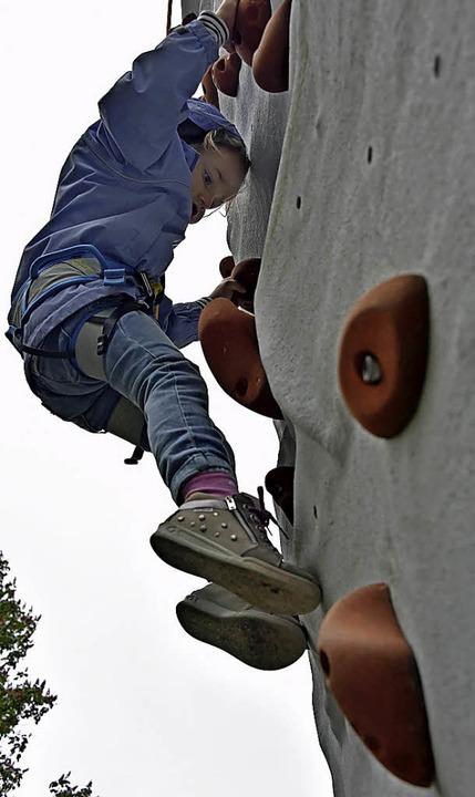 Hoch hinaus: am Kletterturm in Freiburg  | Foto: Michael Bamberger