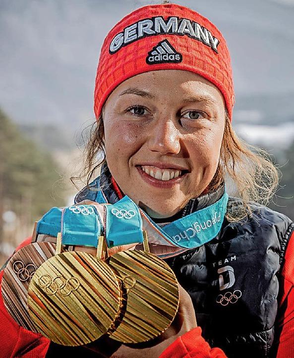 Potas soll den Erfolg deutscher Olympi...Biathletin Laura Dahlmeier,  fördern.   | Foto: dpa