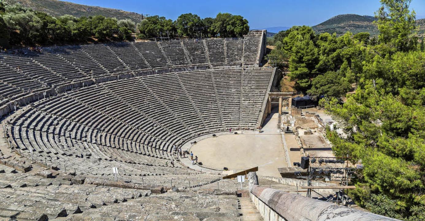 Das griechische Drama ist fürs Erste b...r Bild zeigt das Theater in Epidauros.  | Foto: Adobe.com
