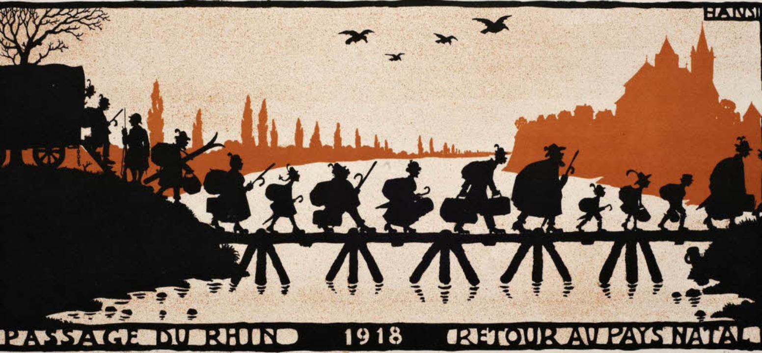 Böse Karikatur von Hansi zur Vertreibu...nannten Reichsdeutschen aus dem Elsass  | Foto: Museum am Burghof