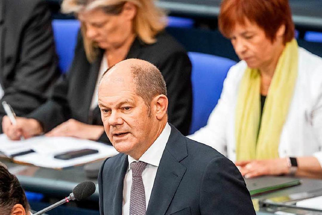 Finanzminister Scholz im Bundestag   | Foto: dpa