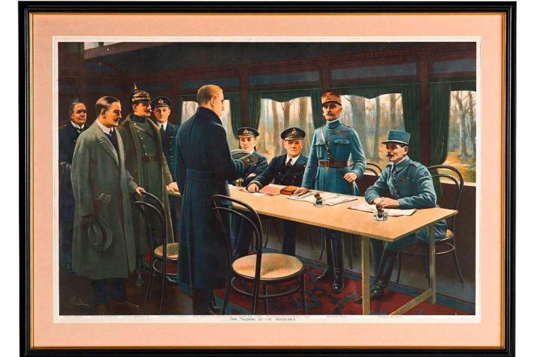 Das Gemälde zeigt den Waffenstillstand... den Siegermächten ausgehandelt haben.  | Foto: Dreiländermuseum